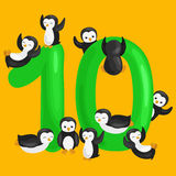 Ordinal number 10 for teaching children counting ten penguins with the ability to calculate amount animals abc alphabet Stock Photography