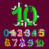 Ordinal number 10 for teaching children counting ten penguins with the ability to calculate amount animals abc alphabet Stock Image