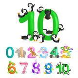 Ordinal number 10 for teaching children counting ten penguins with the ability to calculate amount animals abc alphabet stock illustration