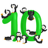 Ordinal number 10 for teaching children counting ten penguins with the ability to calculate amount animals abc alphabet royalty free illustration
