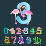 Ordinal number 3 for teaching children counting three flamingos with the ability to calculate amount animals abc Royalty Free Stock Images