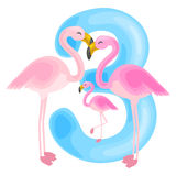 Ordinal number 3 for teaching children counting three flamingos with the ability to calculate amount animals abc Stock Image