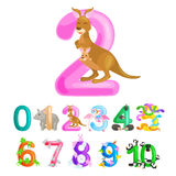 Ordinal number 2 for teaching children counting two kangaroo Mom and baby in bag with the ability to calculate amount Stock Images