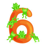 Ordinal numbers six for teaching children counting 6 frogs with the ability to calculate amount animals abc alphabet Stock Images