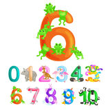 Ordinal numbers six for teaching children counting 6 frogs with the ability to calculate amount animals abc alphabet Royalty Free Stock Images