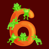 Ordinal numbers six for teaching children counting 6 frogs with the ability to calculate amount animals abc alphabet Stock Image