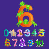 Ordinal numbers six for teaching children counting 6 frogs with the ability to calculate amount animals abc alphabet Royalty Free Stock Photography