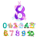 Ordinal numbers for teaching children counting with the ability to calculate amount animals abc alphabet kindergarten Stock Photos