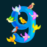 Ordinal numbers 9 for teaching children counting nine birdies with the ability to calculate amount animals abc alphabet Stock Images