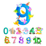 Ordinal numbers 9 for teaching children counting nine birdies with the ability to calculate amount animals abc alphabet Royalty Free Stock Photos