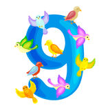 Ordinal numbers 9 for teaching children counting nine birdies with the ability to calculate amount animals abc alphabet Stock Photography