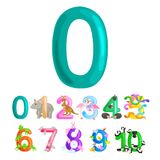 Ordinal numbers 0 for teaching children counting zero birdies Royalty Free Stock Photography