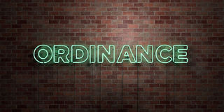 ORDINANCE - fluorescent Neon tube Sign on brickwork - Front view - 3D rendered royalty free stock picture Royalty Free Stock Image