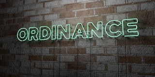 ORDINANCE - Glowing Neon Sign on stonework wall - 3D rendered royalty free stock illustration Royalty Free Stock Images