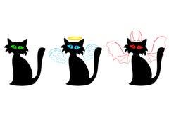 Ordinario del gatto nero, un angelo e un diavolo Fotografia Stock Libera da Diritti