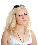 Ordinary blonde woman. Portrait of ordinary blonde woman - isolated on white Royalty Free Stock Image