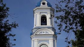 Ordinary church with gilding. Urban architecture in a provincial town.  stock video footage