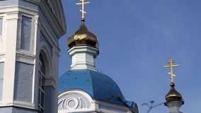 Ordinary church with gilding. Urban architecture in a provincial town.  stock video
