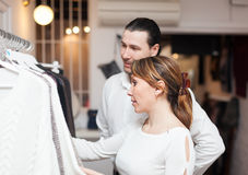 Ordinary couple at boutique Stock Image