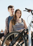 Ordinary couple after cycling Stock Photo