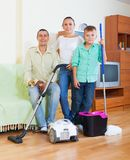 Ordinary family finished housework Royalty Free Stock Photos