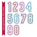 Ordinary geometric numbers created from parallel straight lines. Stock Photo