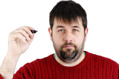 Ordinary guy with pen ready Stock Image
