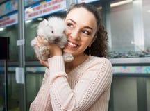 Ordinary happy girl customer watching fluffy chinchilla Stock Photos