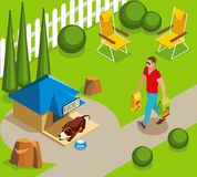 Dog Ordinary Life Isometric Illustration. Ordinary life of dog and owner, canine sleep in garden, man with dry feed isometric vector illustration vector illustration