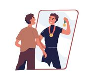 Free Ordinary Man Looking At Fake Mirror Reflection And Dreaming To Be Successful Strong Athlete And Sports Winner With Royalty Free Stock Photos - 213412948