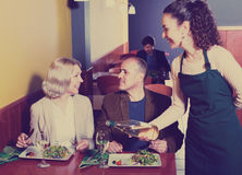 Ordinary mature couple having dinner. Portrait of nippy and ordinary smiling mature couple having dinner Royalty Free Stock Photo