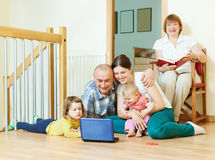 Ordinary multigeneration family together Royalty Free Stock Images