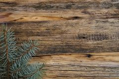 Ordinary old wooden boards with twigs of pine needles (Christmas tree), background for text, simple motif. Ordinary old wooden boards with twigs of pine needles stock photography