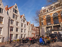 Ordinary outdoor cafe in Amsterdam Royalty Free Stock Photo