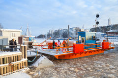 Ordinary passengers and city boat Fori, light traffic ferry Royalty Free Stock Images