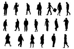 Ordinary people silhouettes Royalty Free Stock Photos