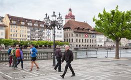 Ordinary people walk on the street of Lucerne Royalty Free Stock Photos