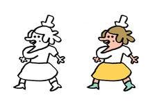 Ordinary plump woman in yellow skirt. Illustration contour Stock Image