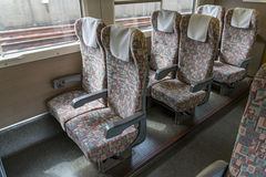 Ordinary seats of E4 Series bullet High-speed train. Stock Photo