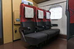 Ordinary seats of the E7/W7 Series bullet (High-speed) train. NAGANO,JAPAN-APRIL 8,2016: Ordinary seats of the E7 Series bullet (High-speed or Shinkansen) train Stock Images
