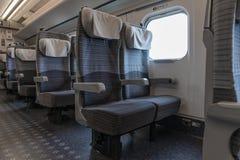 Ordinary seats of H5 Series bullet (High-speed or Shinkansen) train. Royalty Free Stock Photo