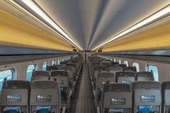 Ordinary seats of H5 Series bullet (High-speed or Shinkansen) train. Royalty Free Stock Photography