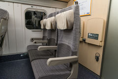 Ordinary seats of H5 Series bullet High-speed or Shinkansen train. Royalty Free Stock Photos