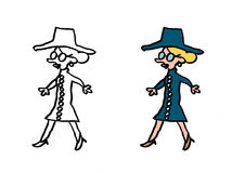 Ordinary skinny woman in blue dress, hat and glasses. Illustration contour Royalty Free Stock Image