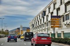 Ordinary street of european city. Pamplona. Navarre. Stock Photo