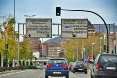 Ordinary street of european city. Pamplona. Navarre. royalty free stock images