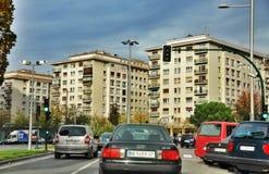 Ordinary street of european city. Pamplona. Navarre. Stock Photography
