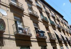 Ordinary street in Madrid.  stock image