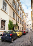 Ordinary street in old Rome with cars Royalty Free Stock Photos