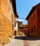 Ordinary street of old spanish town Stock Images